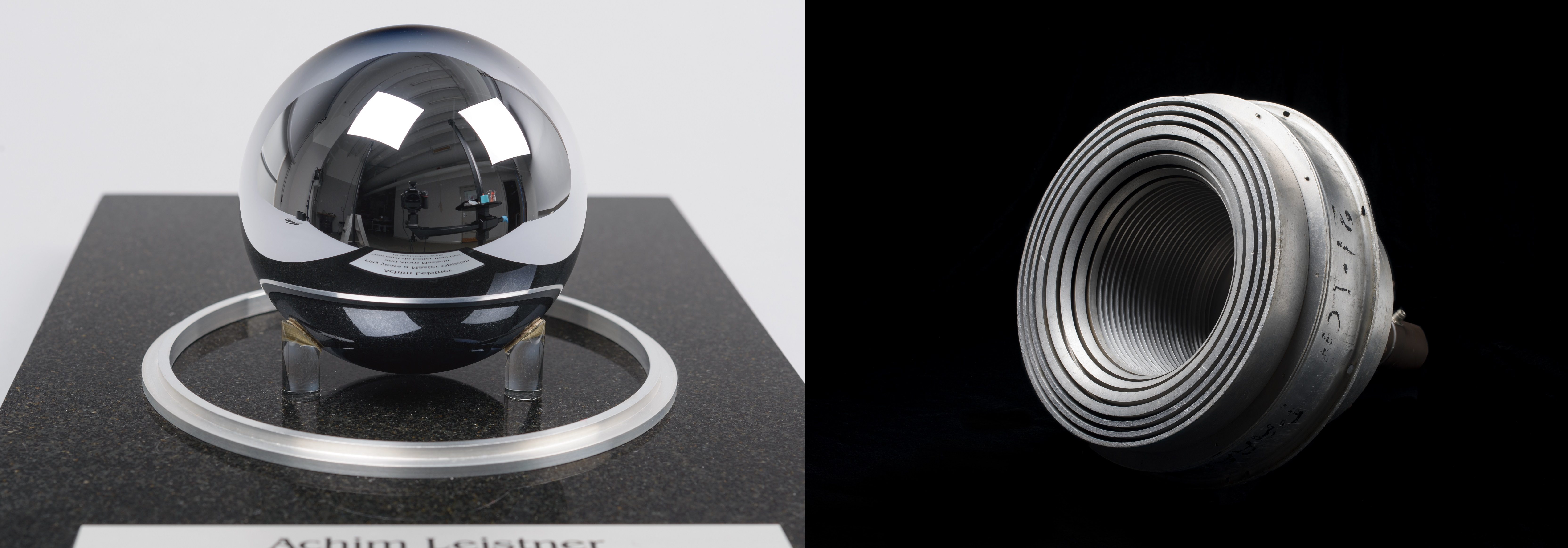 Two images side by side. Left: highly polished dark grey sphere on granite stand. Reflections of the lab in which the photograph was taken can be seen. Right: cylindrical metal device with several concentric rings of metal leading to a hollow interior.