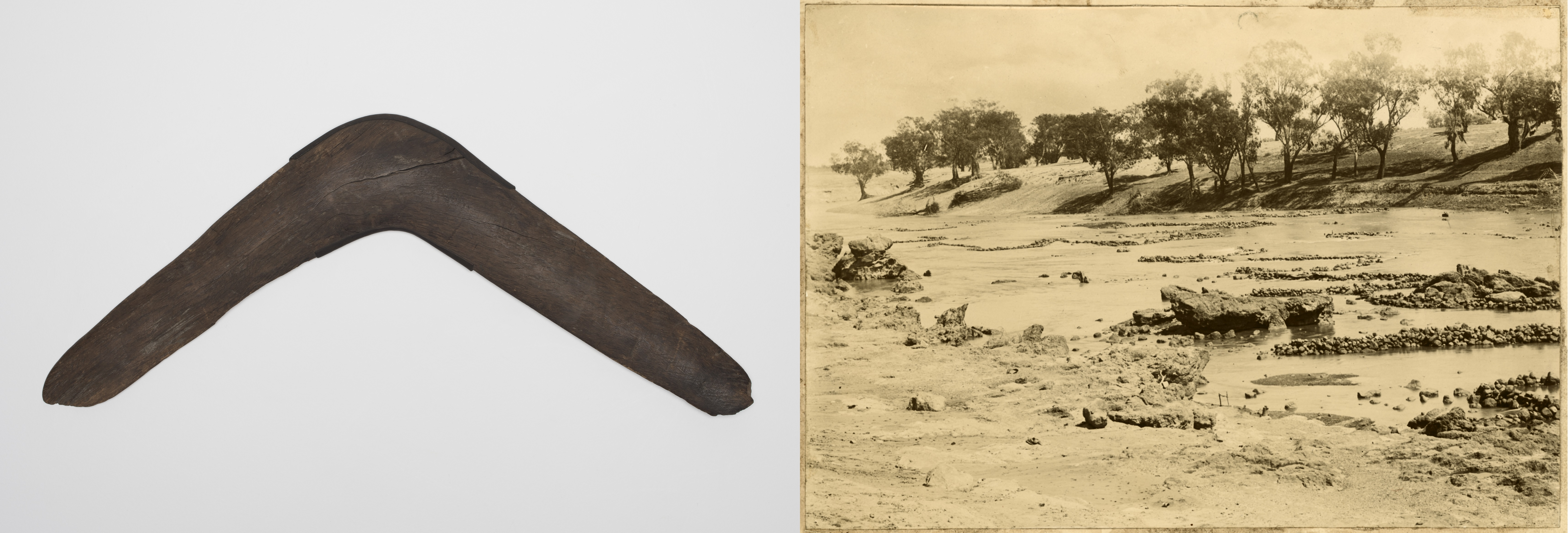 Two images side by side. Left: simple wooden boomerang. Right: sepia photograph of a river system featuring Indigenous-designed fish traps.