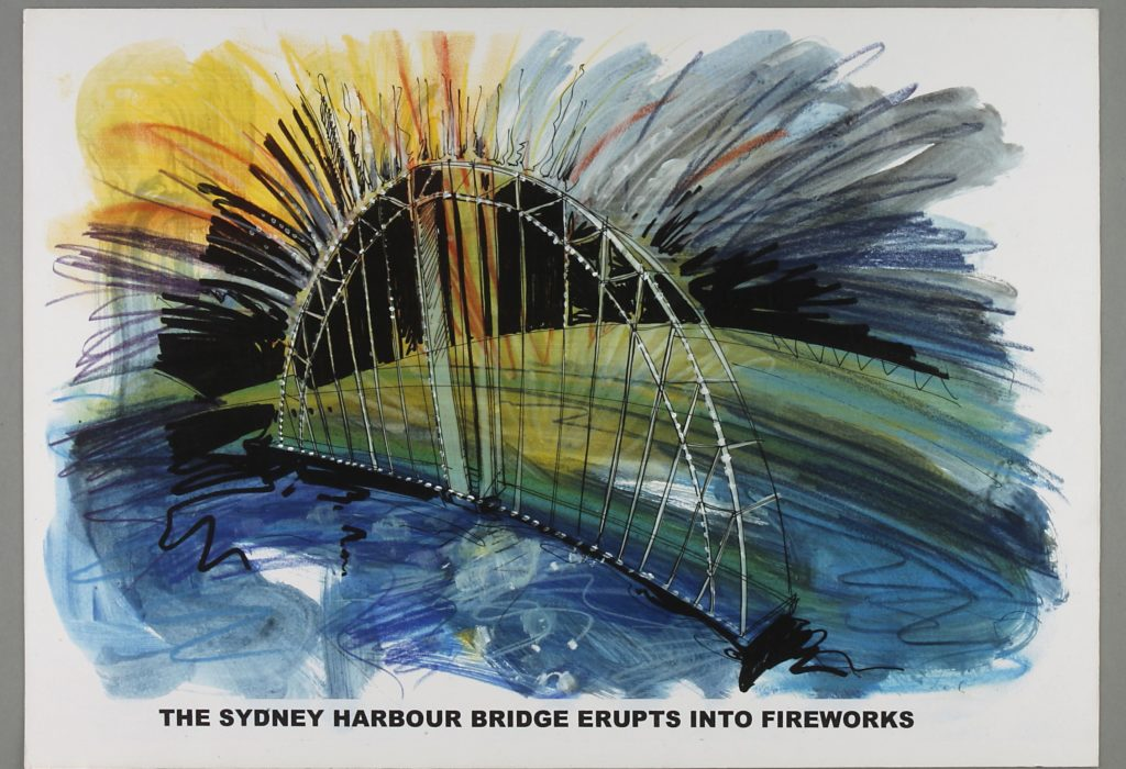 Sketch showing idea for opening of the Sydney Olympics. The Sydney Harbour Bridge shape with yellow fireworks against a blue green background. .