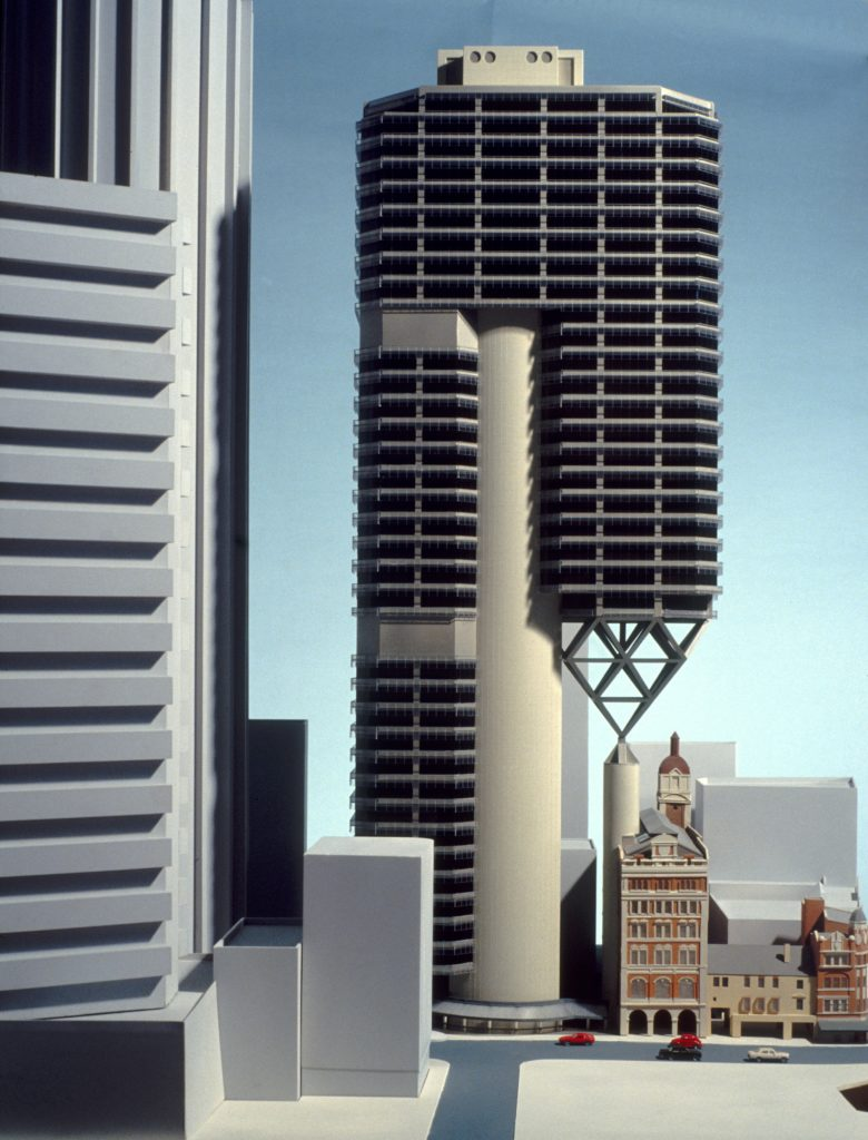 Architectural model of unbuilt high rise office building and surrounding heritage buildings