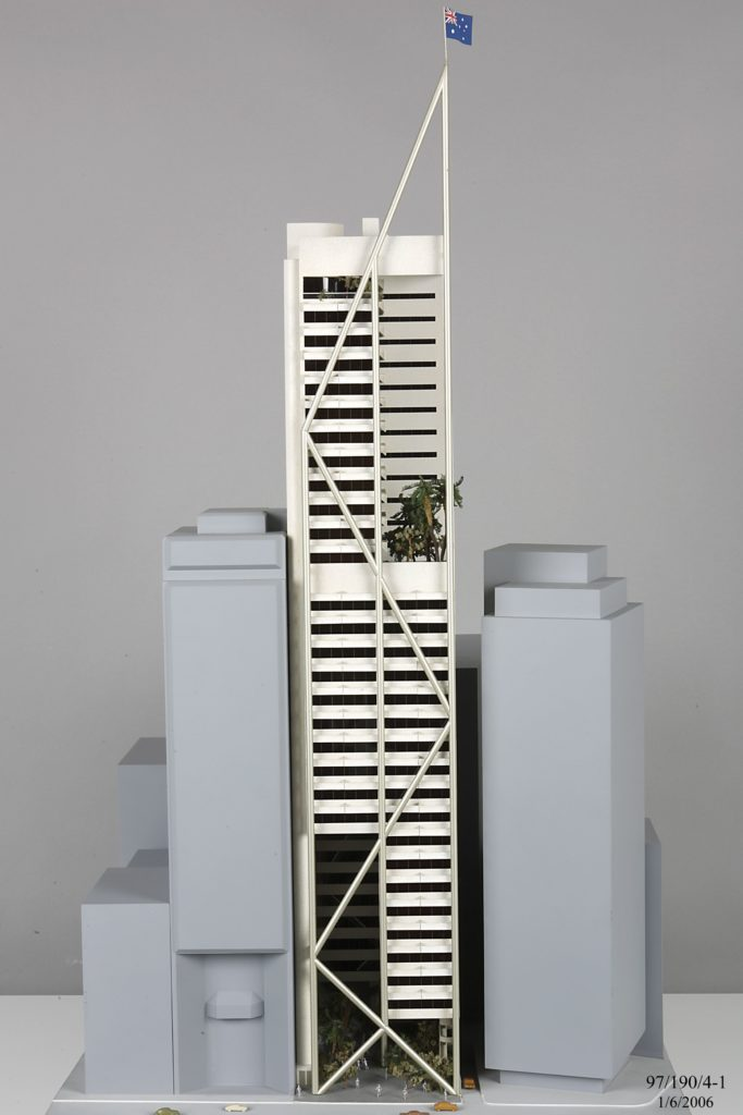 Architectural model of a high rise office tower designed in the 1980s