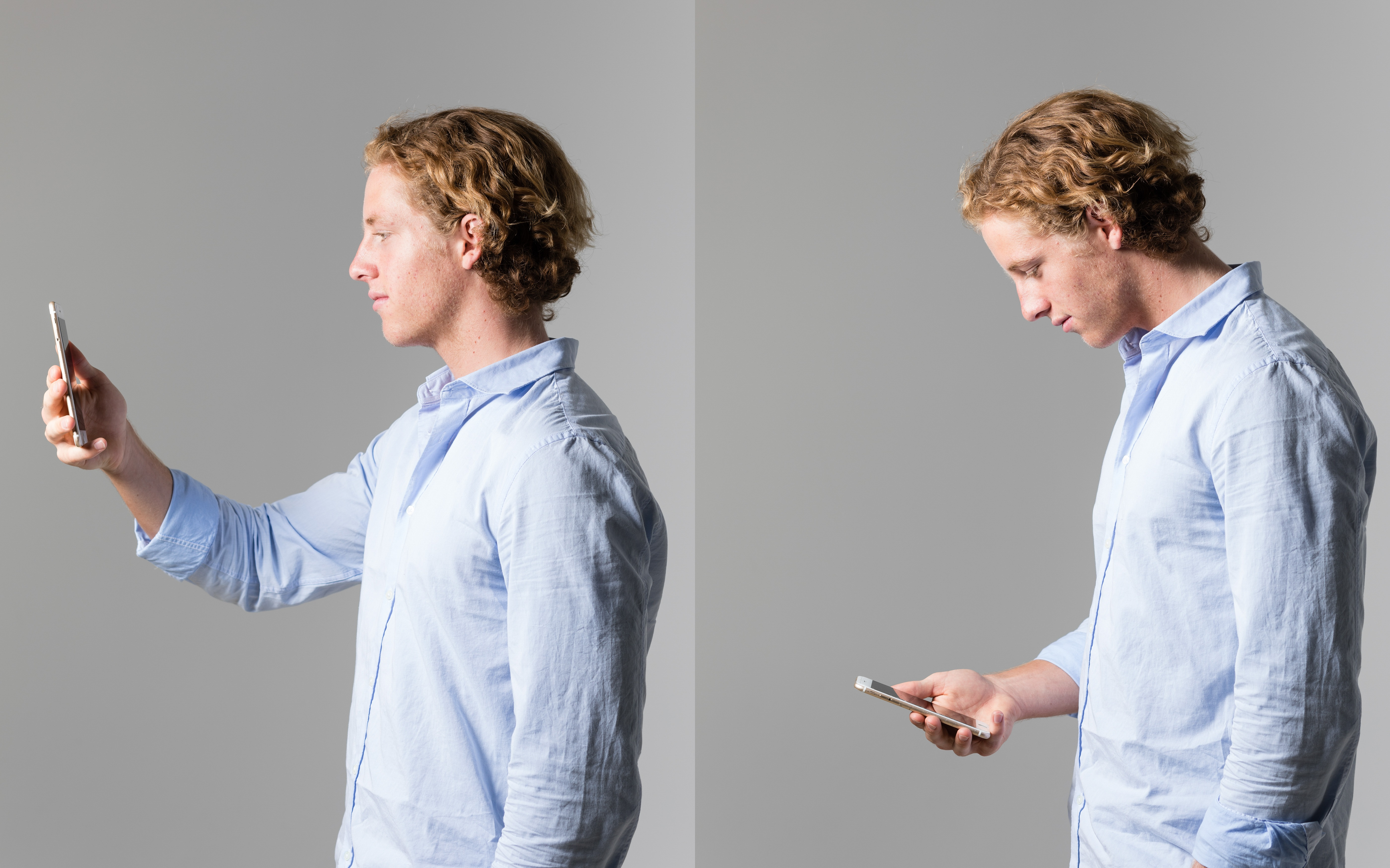 Two panel image. Left: a young man in a blue shirt holds a smart phone up in front of his face. Right: the same man holds the phone down at waist height demonstrating the neck curvature that results from looking downwards.
