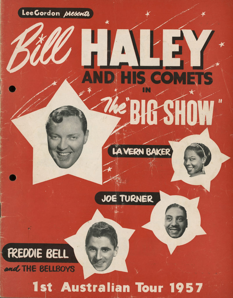"""Concert program, 'Lee Gordon presents Bill Haley and his Comets in the """"Big Show""""', paper, printed by Publicity Press Pty Ltd, Sydney, New South Wales, Australia, 1957. MAAS collection 98/77/5"""