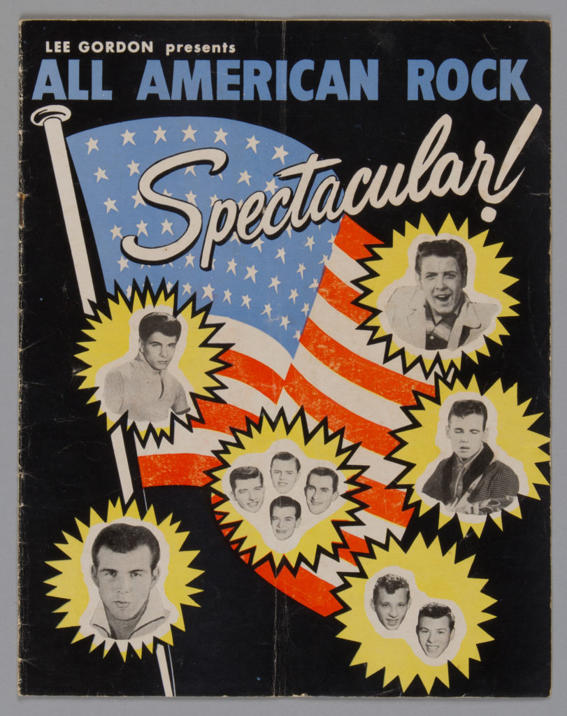 Program, rock concert, `Lee Gordon presents All American Rock Spectacular', paper, Australia, 1960. MAAS collection: 92/1433. Image: Nitsa Yioupros