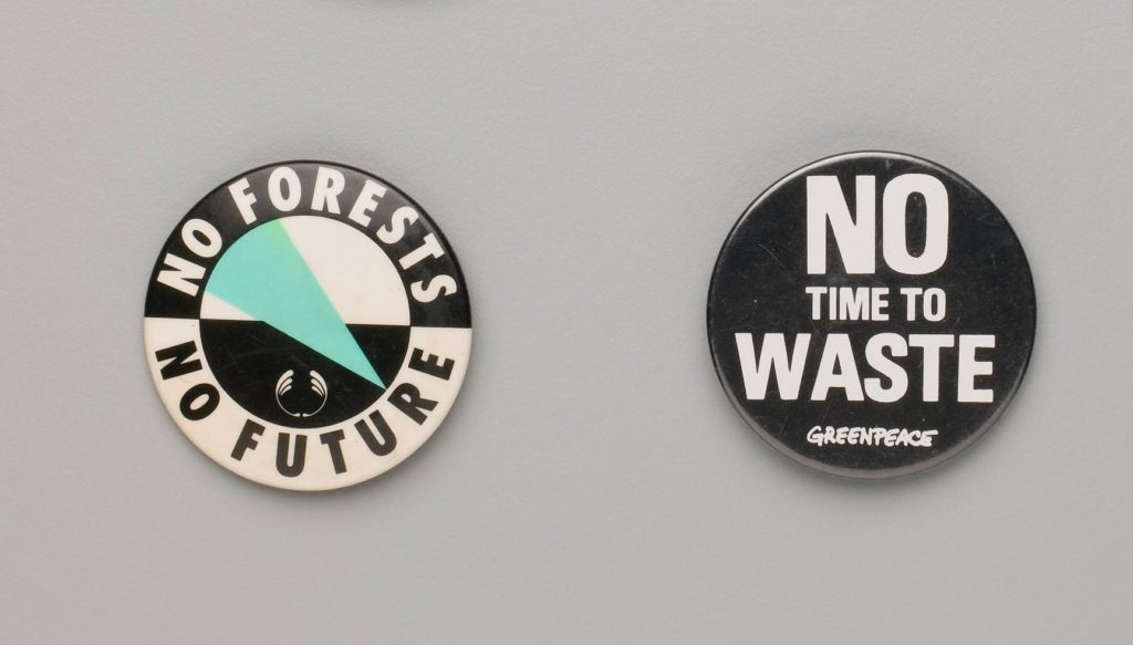 Two environmental protest badges from the MAAS collection