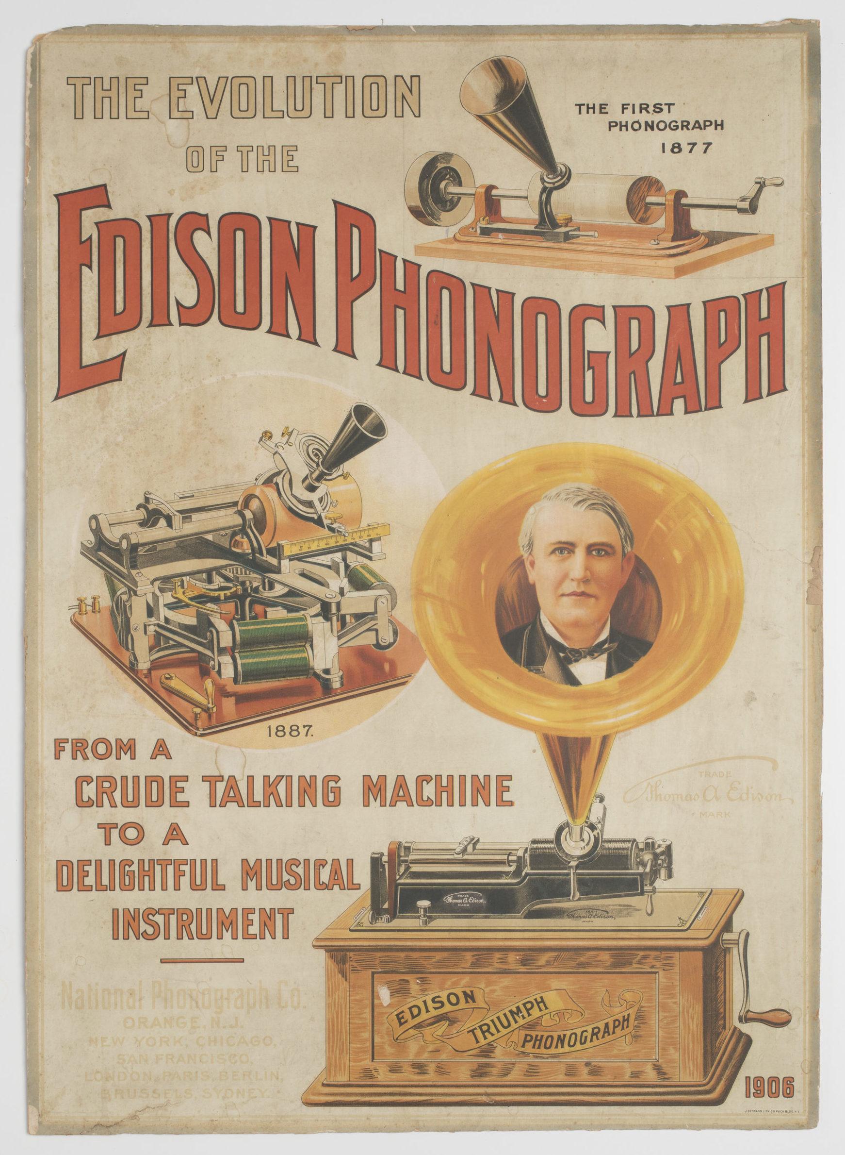 Lithograph, poster, Edison Phonograph, J Ottman, USA, c 1906