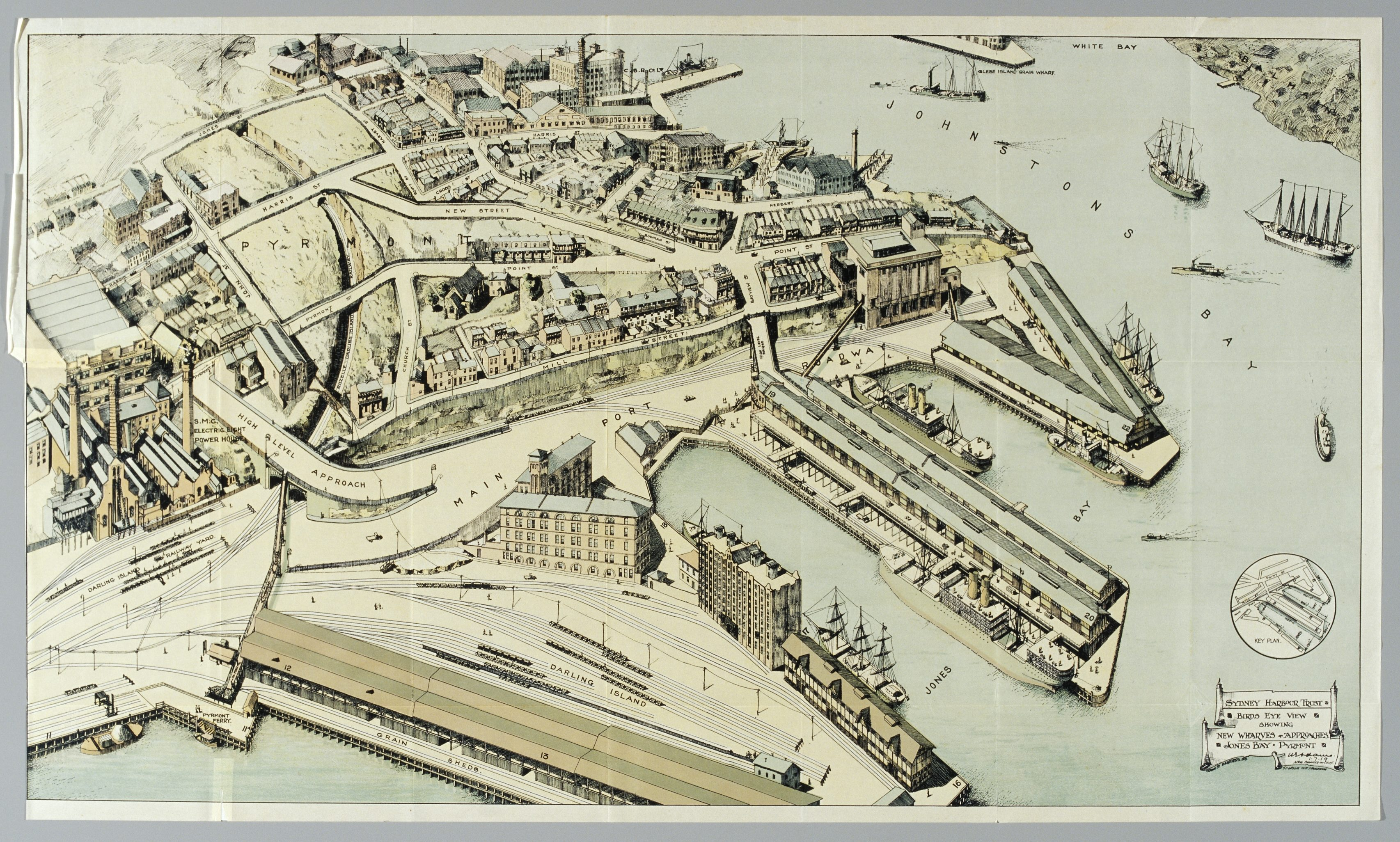 Coloured map drawn from above showing wharves and buildings.