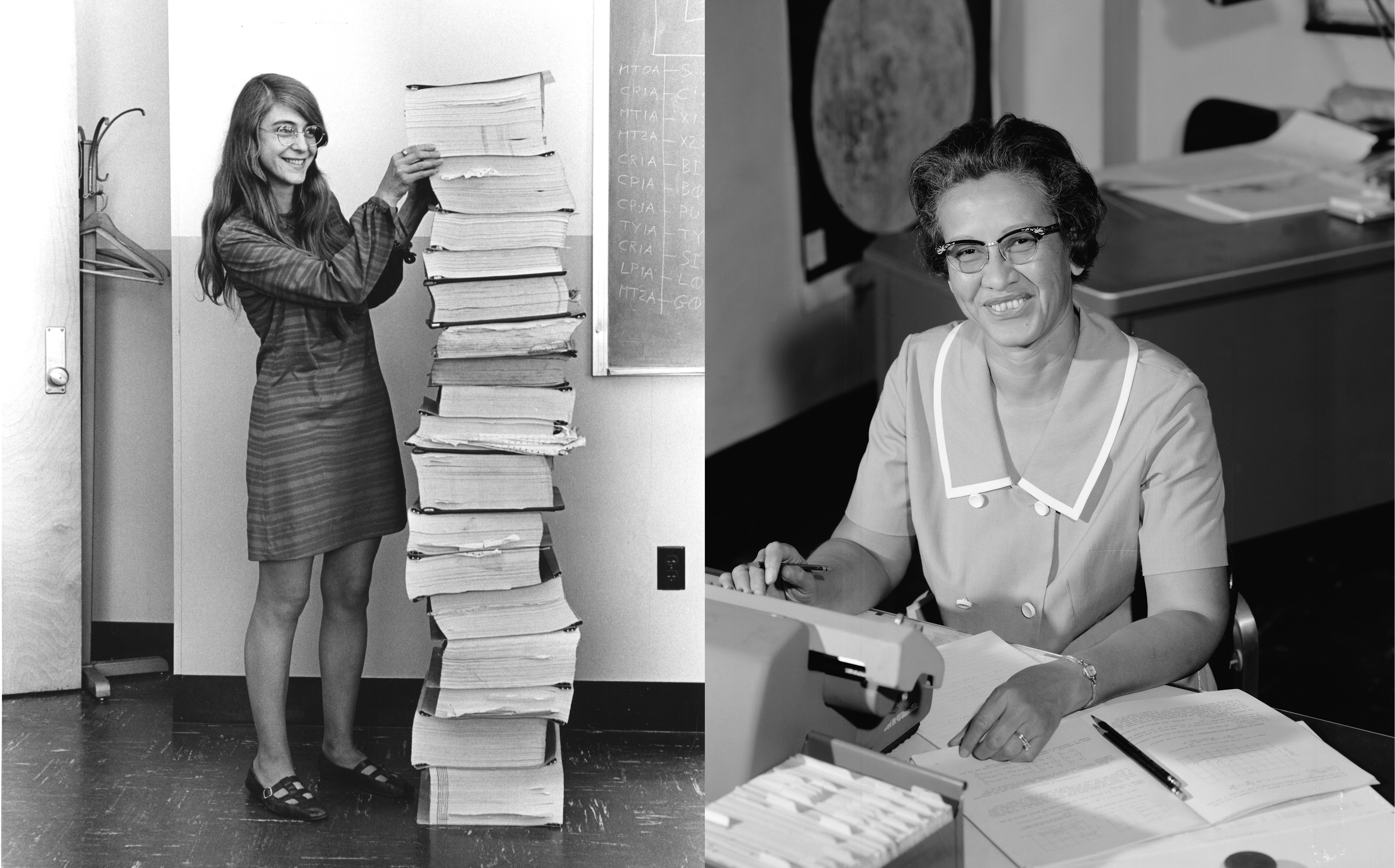 Left: an image of a women in a 1960s dress standing beside a stack of paper as tall as she is. Right: an African-American woman working on an early desktop computer.