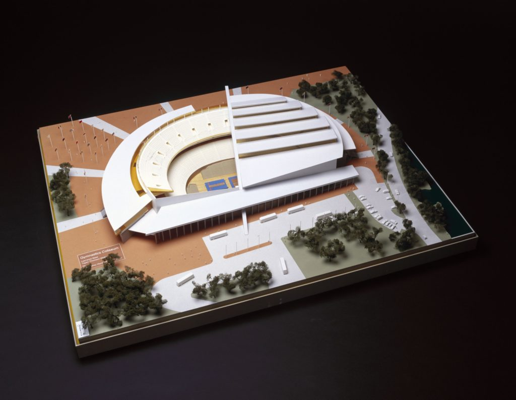 Architectural model of gymnastics stadium and surrounding landscaping