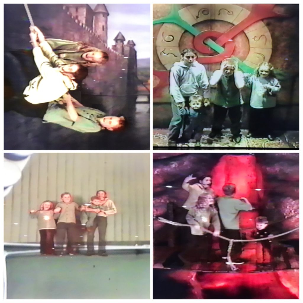 A collage of four images with a group of young children acting out various scenarios. In the top left three children pretend to climb a castle wall and in the bottom right they are pretending to cross a broken bridge over a lava pit.