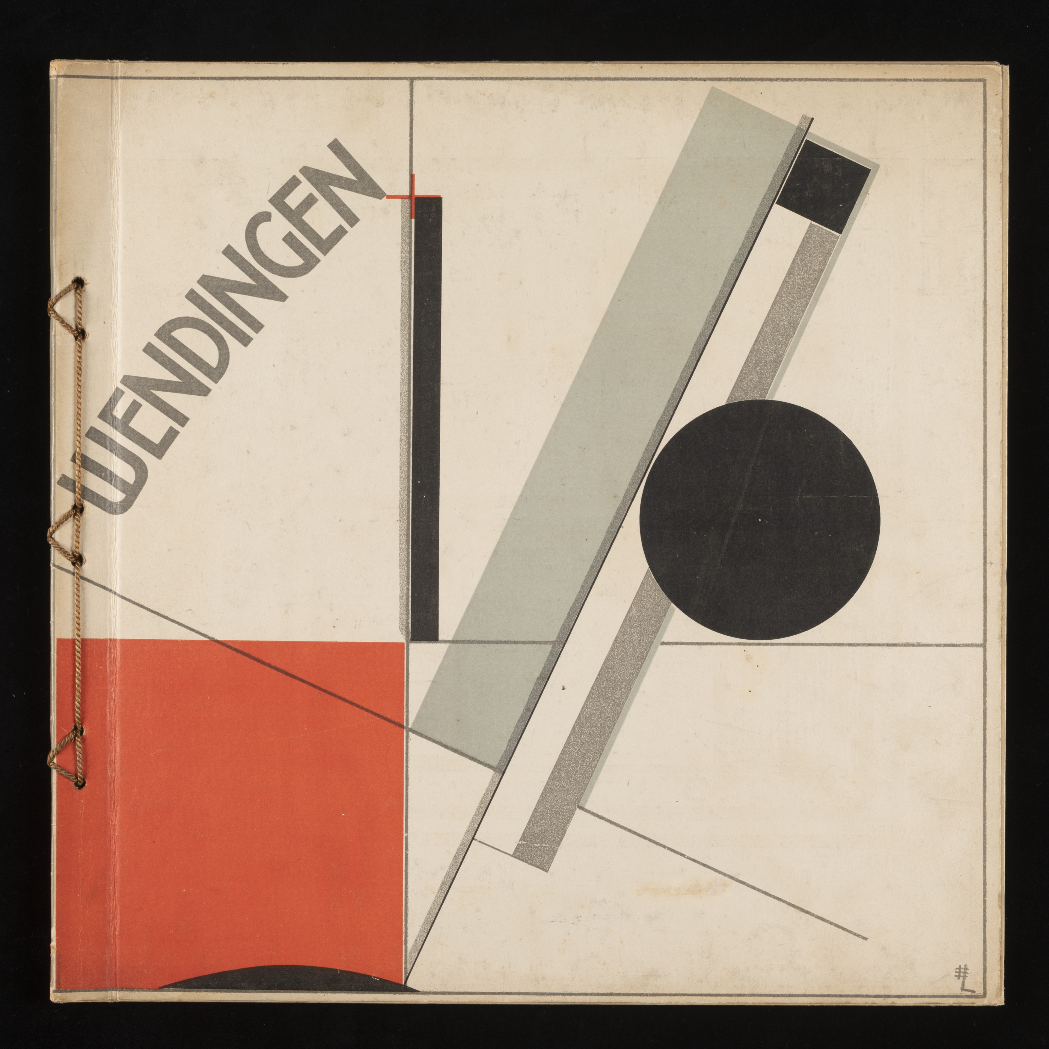Square-format magazine cover in white printed with geometrical shapes and lines in black, red and grey. Top left section features the word WENDINGEN in grey positioned diagonally.
