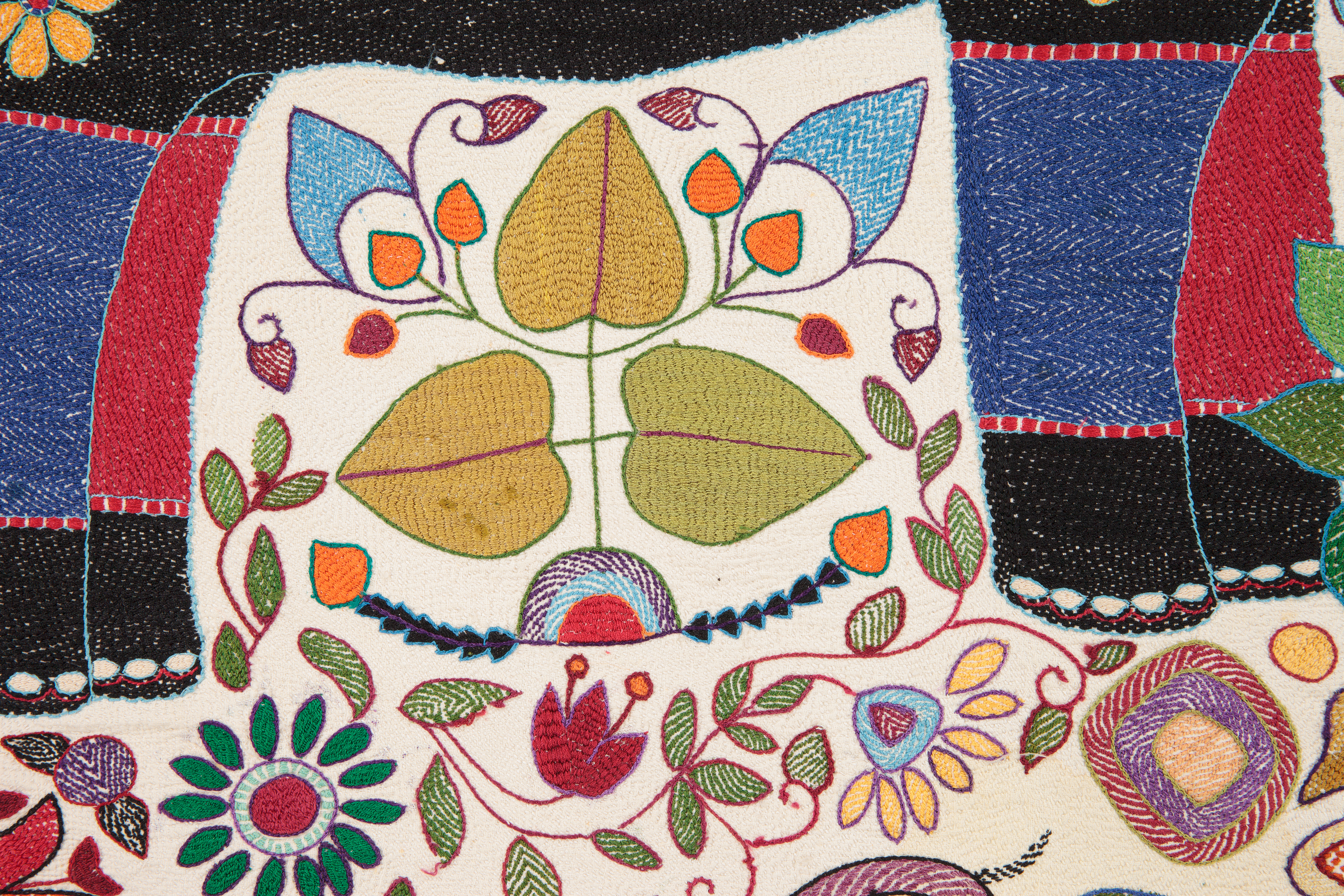 close up detail of embroidery featuring multi-coloured floral motifs using a combination of running, chain, herringbone, satin and cross stitch.