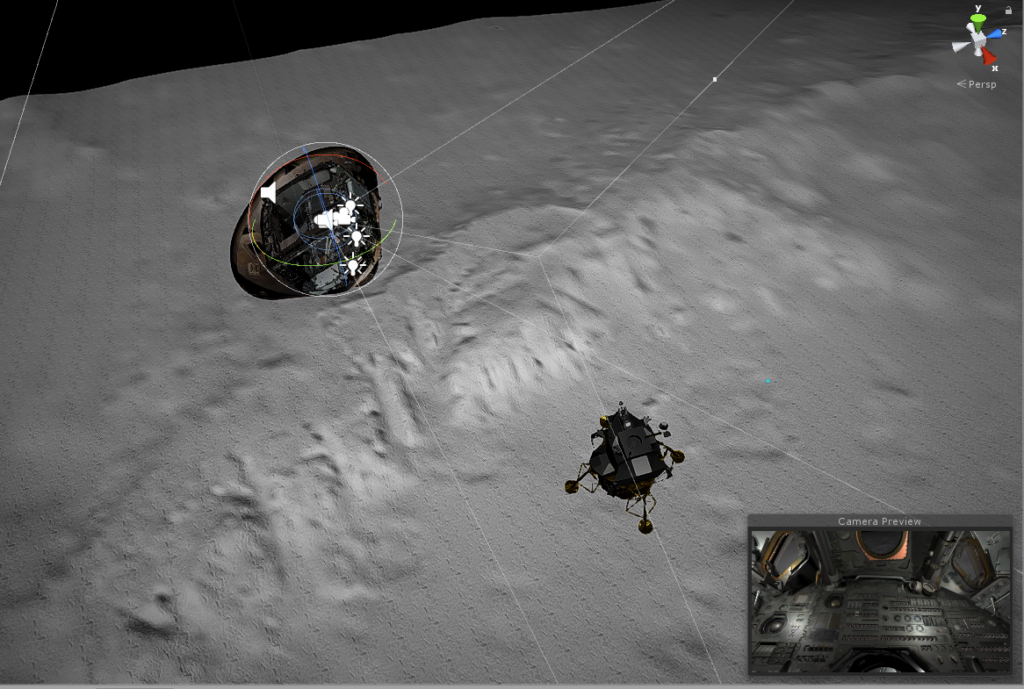 Screen capture, 3D rendering of the Command Module and Lunar Module shortly after separation, with grey landscape below. There are various 'trajectory lines' running between the two spacecraft and a 'Camera Preview' inset of the interior in the bottom right.