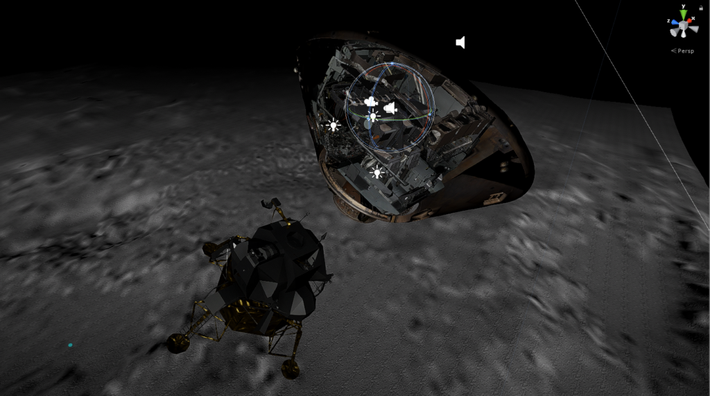 Screen capture, 3D rendering of the Command Module and Lunar Module immediately after separation, with grey landscape below. There are various lightbulb and speaker icons superimposed on the Command Module, and coordinates icon (x, y, z) in the top right.
