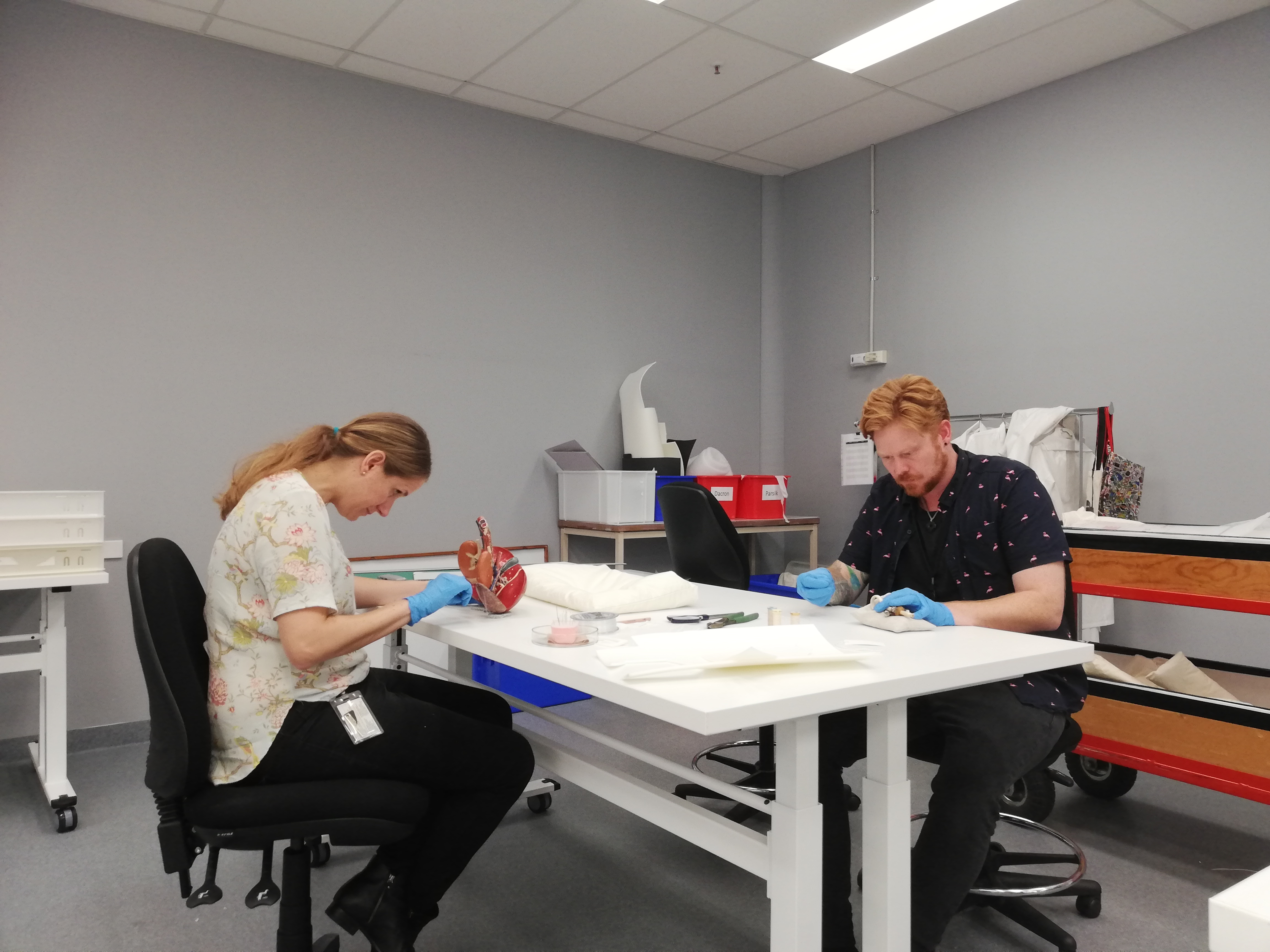 conservators Elizabeth Reed and Chris Redman back in the conservation lab making object supports for the paier-mache anatomical heart model and the ivory baby's teething ring.