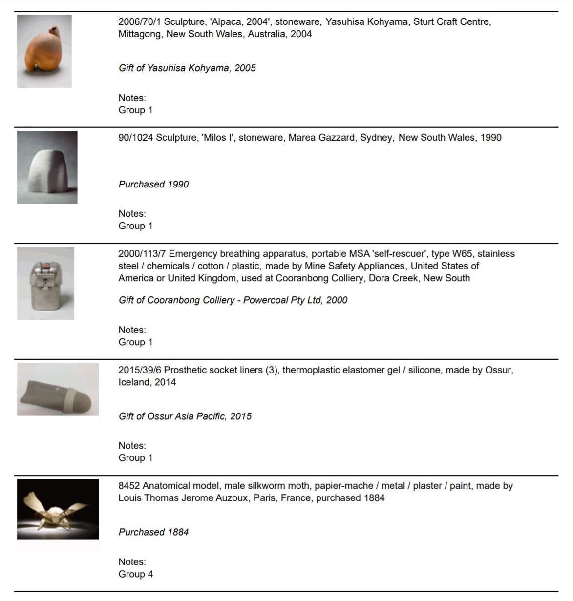 A screenshot of a pdf showing a sample from the object list in the format for distribution amongst the project team. The pdf shows an image, object details and source/credit line information for 5 objects including ceramic artworks, an emergency breathing apparatus, a silicone prosthetic socket liner and an anatomical model of a silkworm moth