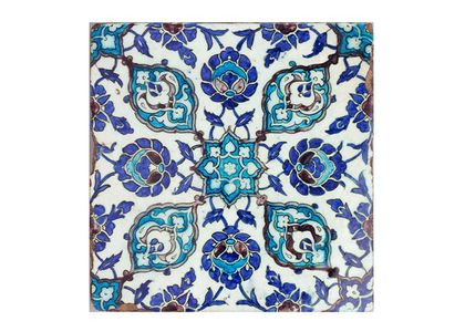 Earthenware, maker unknown, Damascus, Syria, 1550-1600. Square buff tile, one of a pair, made of earthenware. One side is glazed with a floral geometric design in blue, turquoise, and aubergine against a cream background.