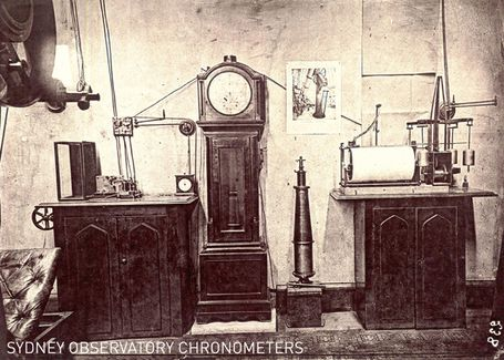 Sydney Observatory electrical clocks and chronometers, 1881, from 'Astronomical Results, 1879-80-81', H C Russell, copied Powerhouse Museum, April 2008. Photographer unknown. Museum of Applied Arts and Sciences.