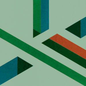 Cropped detail of a mock-up for the printing hall of the Reserve Bank of Australia's Craigieburn note printing works designed by Gordon Andrews (1981-1982) in a green, blue and orange paper abstract design on light green paper background adhered to cardboard.