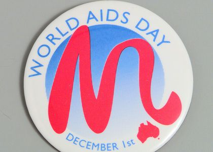 Photograph of WORLD AIDS DAY' Badge